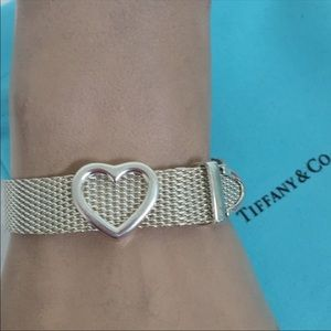 Tiffany & Co Sterling Silver Heart Mesh Bracelet